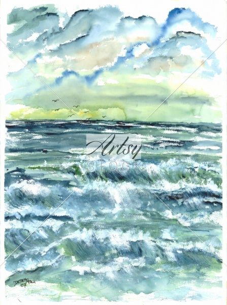 Blue Waves Seascape Art Print