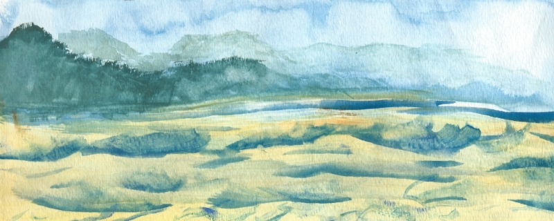Abstract landscape, watercolor