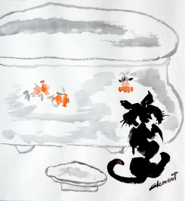 The Cat and Gold Fish