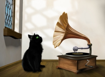 Cat with gramophone