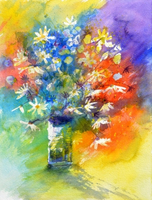 Colorful still life watercolor flowers