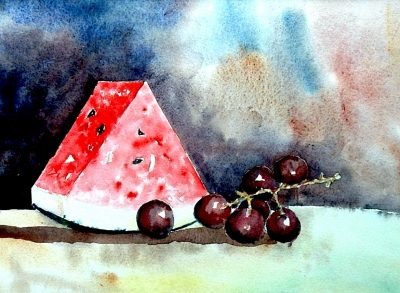 Water Melon and Grapes