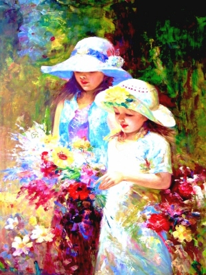 Two Young Girls Picking Flowers