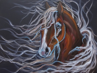 Horse with Flowing Mane