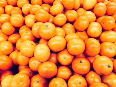 Orange Tangerines In Fruit Market