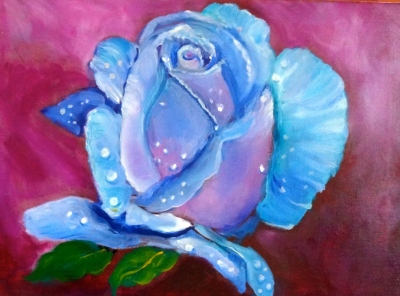 Blue Rose on Magenta