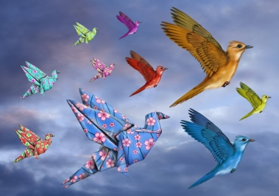 Origami Bird Dreamscape