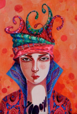 Woman with a curlicue hat