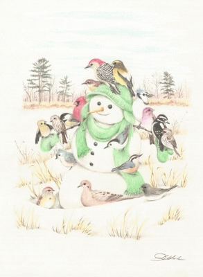 Snowman with winter songbirds